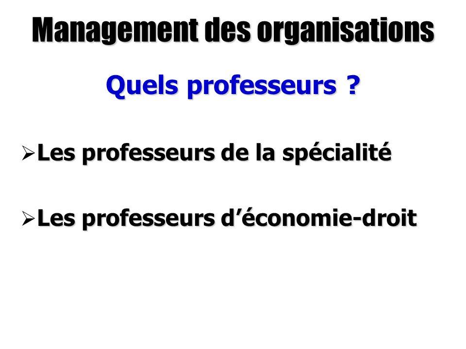 Management des organisations Quels professeurs ? Les professeurs de la spécialité Les professeurs de la spécialité Les professeurs déconomie-droit Les