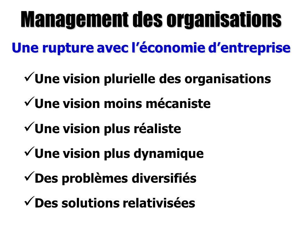 Management des organisations Une rupture avec léconomie dentreprise Une vision plurielle des organisations Une vision moins mécaniste Une vision plus