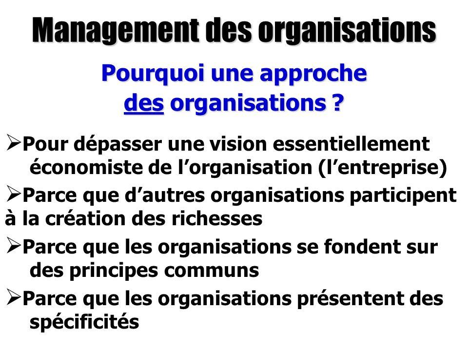Management des organisations Pourquoi une approche des organisations ? Pour dépasser une vision essentiellement économiste de lorganisation (lentrepri