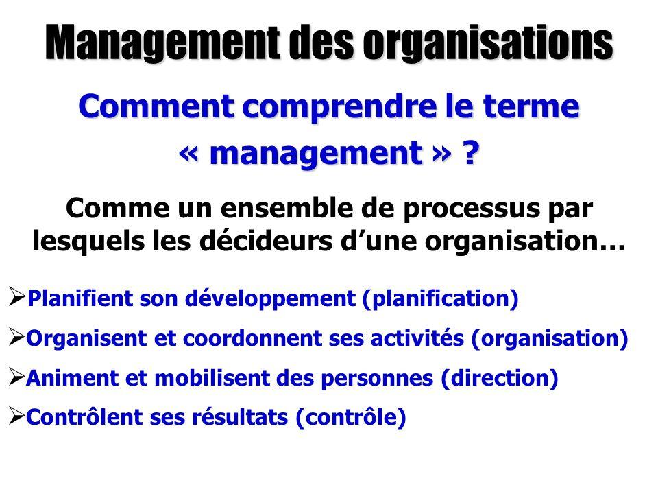 Management des organisations Comment comprendre le terme « management » ? Comme un ensemble de processus par lesquels les décideurs dune organisation…