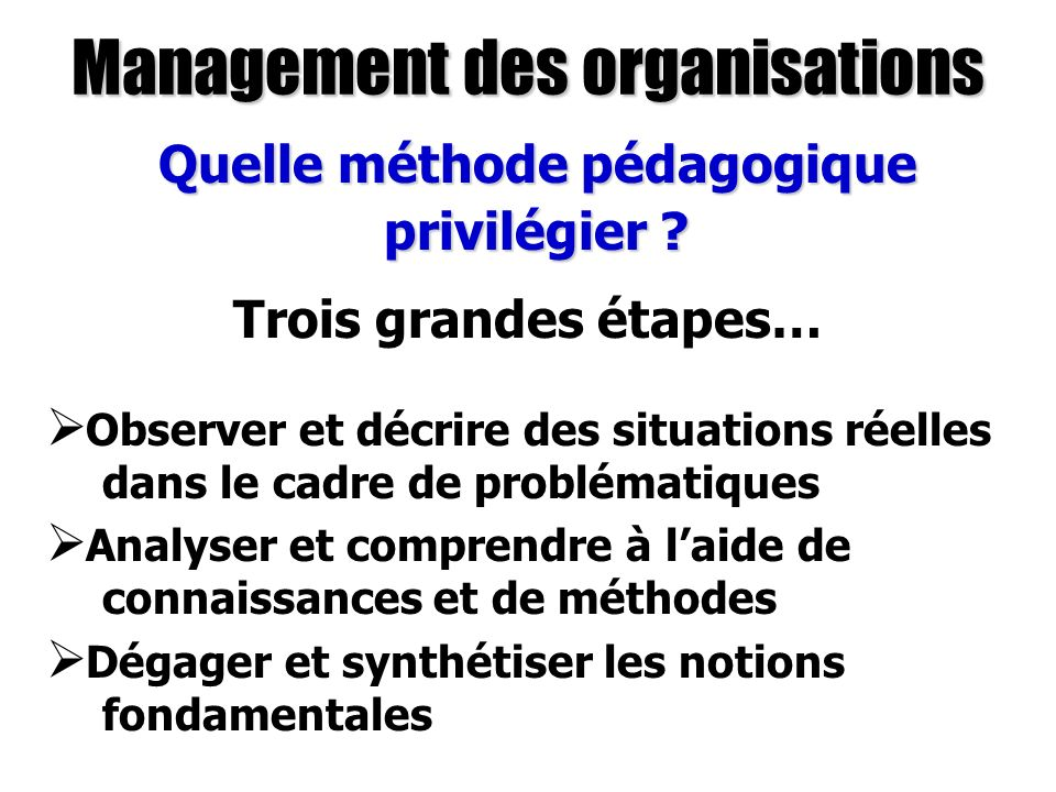Management des organisations Quels supports utiliser .
