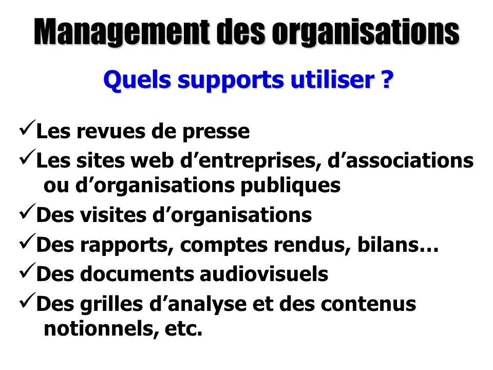 Management des organisations Quels supports utiliser ? Les revues de presse Les sites web dentreprises, dassociations ou dorganisations publiques Des