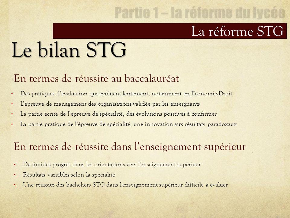Le bilan STG La réforme STG Des pratiques dévaluation qui évoluent lentement, notamment en Economie-Droit Lépreuve de management des organisations val