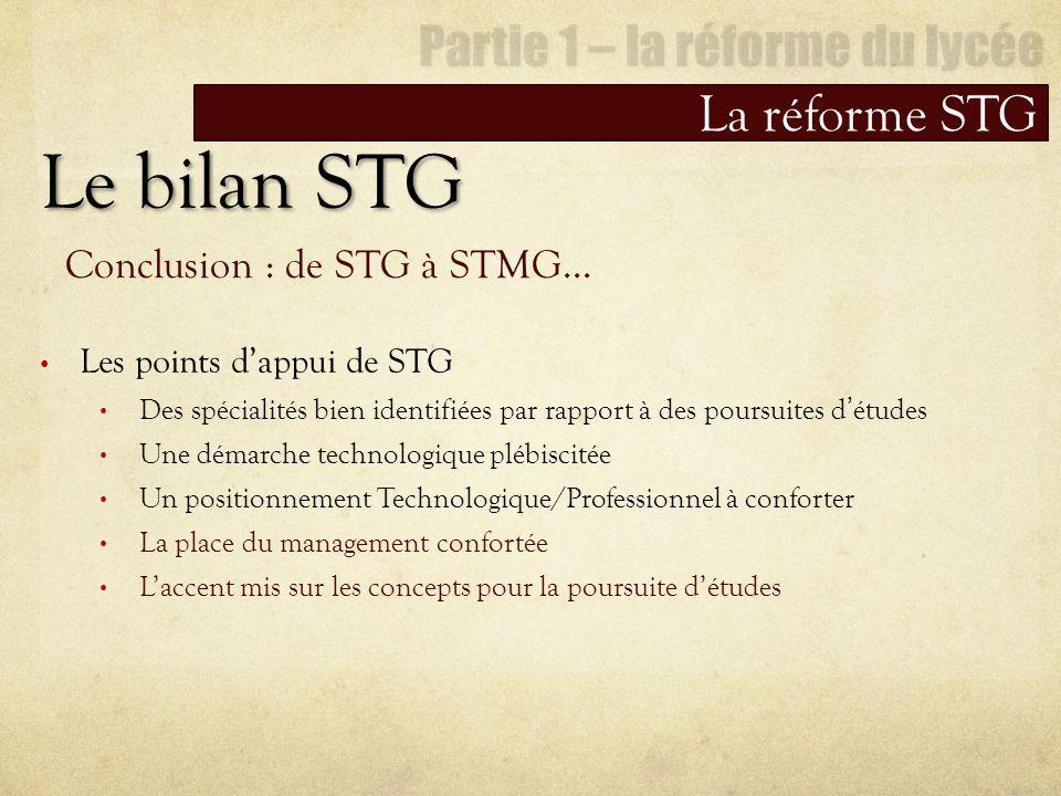 Le bilan STG La réforme STG Conclusion : de STG à STMG… Les points dappui de STG Des spécialités bien identifiées par rapport à des poursuites détudes