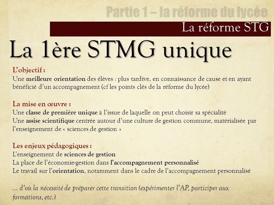 La réforme STG La 1ère STMG unique Lobjectif : Une meilleure orientation des élèves : plus tardive, en connaissance de cause et en ayant bénéficié dun