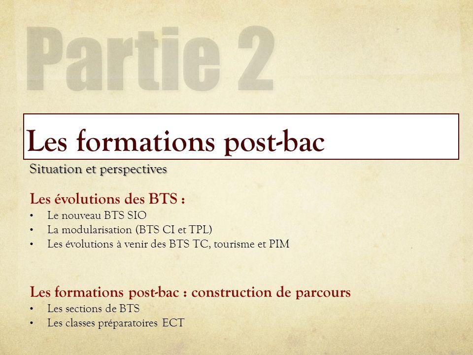 Les formations post-bac Situation et perspectives Les évolutions des BTS : Le nouveau BTS SIO La modularisation (BTS CI et TPL) Les évolutions à venir
