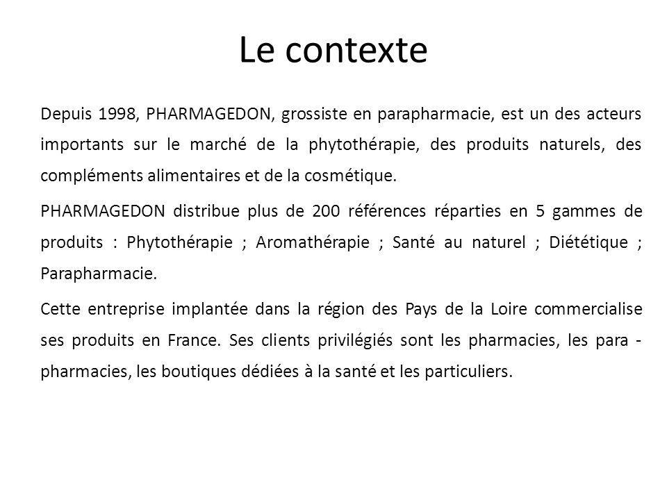 Le contexte Depuis 1998, PHARMAGEDON, grossiste en parapharmacie, est un des acteurs importants sur le marché de la phytothérapie, des produits nature