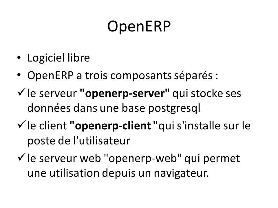 OpenERP Logiciel libre OpenERP a trois composants séparés : le serveur
