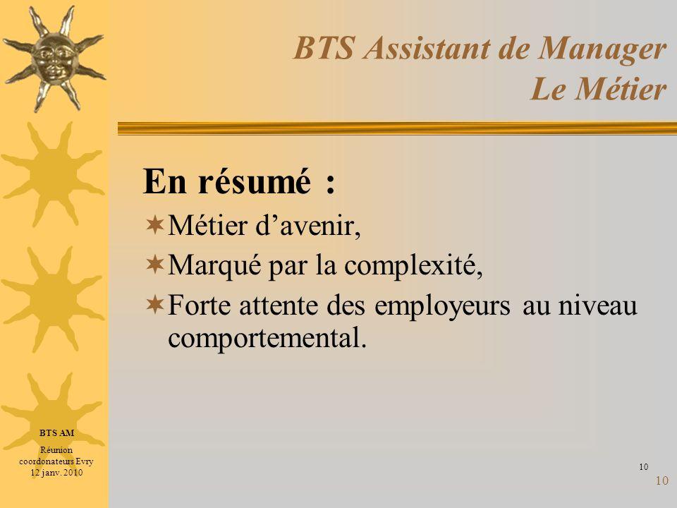 10 BTS Assistant de Manager Le Métier En résumé : Métier davenir, Marqué par la complexité, Forte attente des employeurs au niveau comportemental. 10