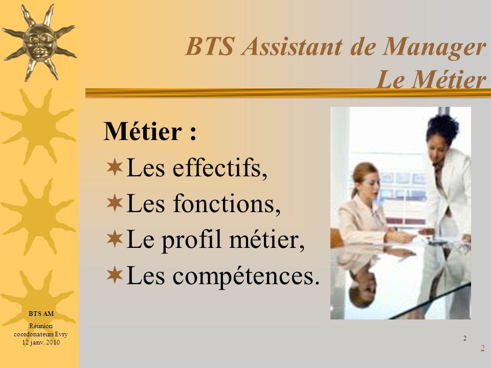 2 BTS Assistant de Manager Le Métier Métier : Les effectifs, Les fonctions, Le profil métier, Les compétences. 2 BTS AM Réunion coordonateurs Evry 12