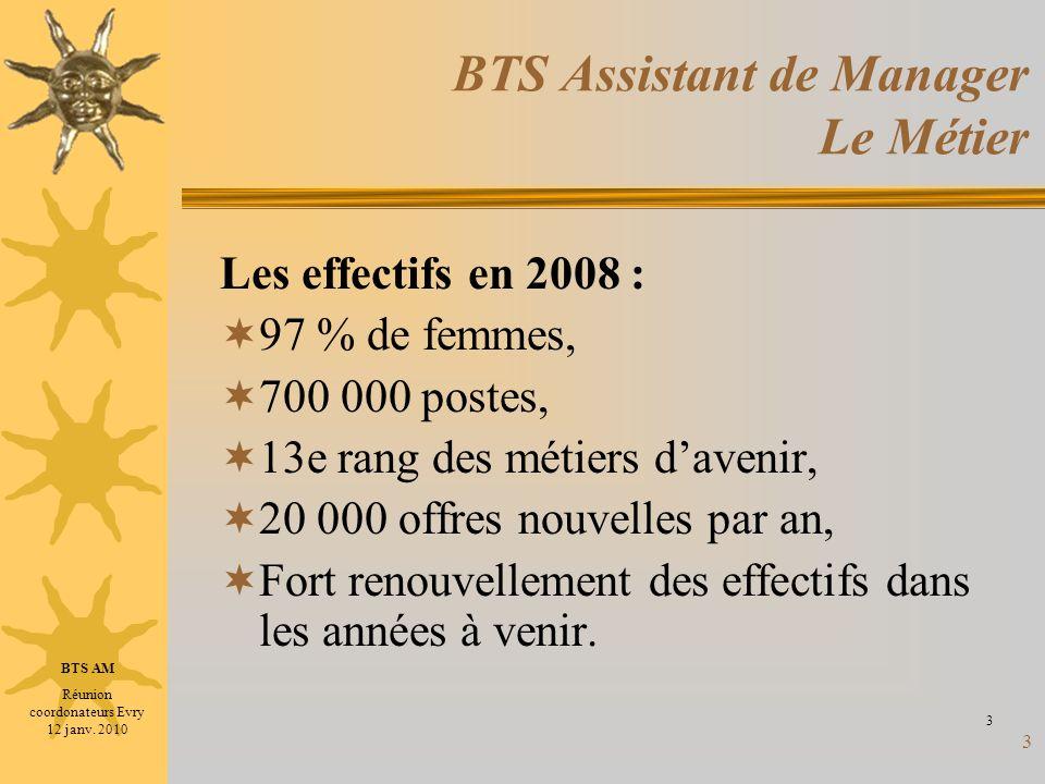3 BTS Assistant de Manager Le Métier Les effectifs en 2008 : 97 % de femmes, 700 000 postes, 13e rang des métiers davenir, 20 000 offres nouvelles par
