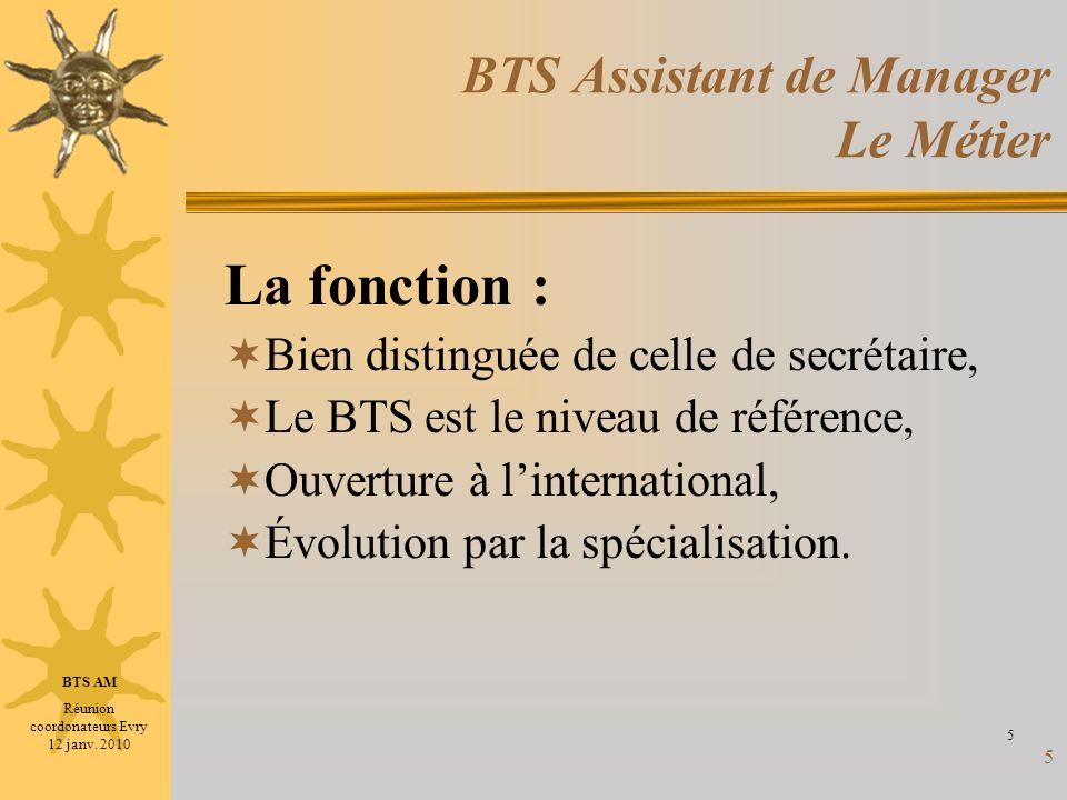 5 BTS Assistant de Manager Le Métier La fonction : Bien distinguée de celle de secrétaire, Le BTS est le niveau de référence, Ouverture à linternation