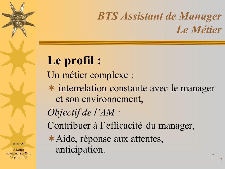 7 BTS Assistant de Manager Le Métier Le profil : Un métier complexe : interrelation constante avec le manager et son environnement, Objectif de lAM :