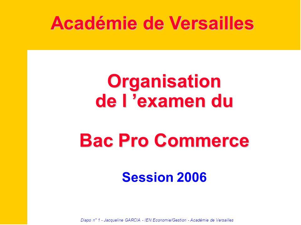 Diapo n° 1 - Jacqueline GARCIA - IEN Economie/Gestion - Académie de Versailles Organisation de l examen du Bac Pro Commerce Session 2006 Académie de V
