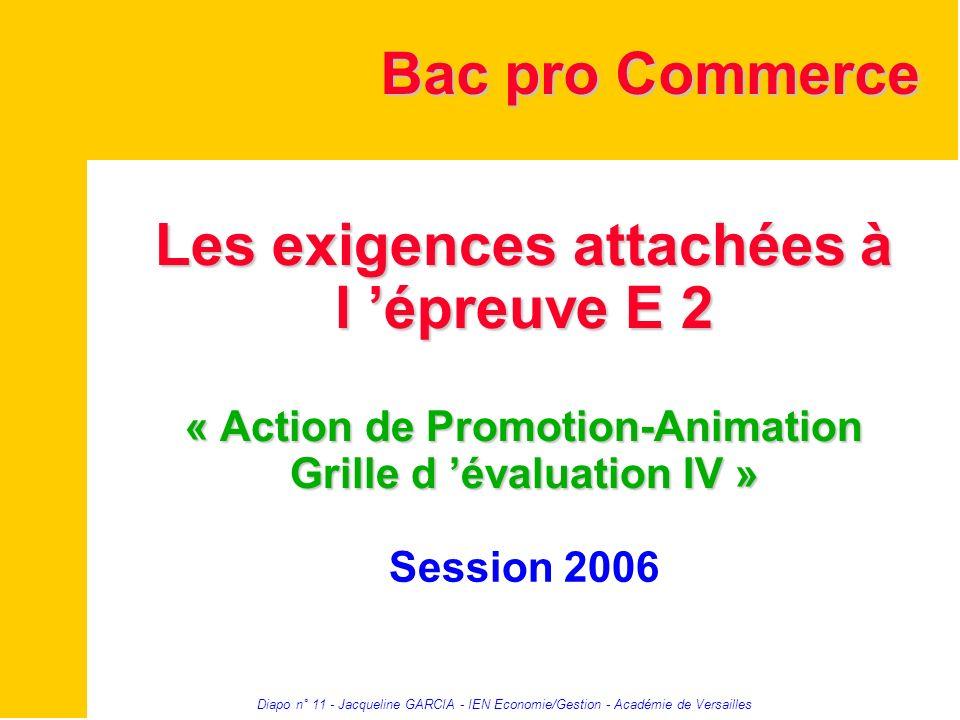 Diapo n° 11 - Jacqueline GARCIA - IEN Economie/Gestion - Académie de Versailles Les exigences attachées à l épreuve E 2 « Action de Promotion-Animatio