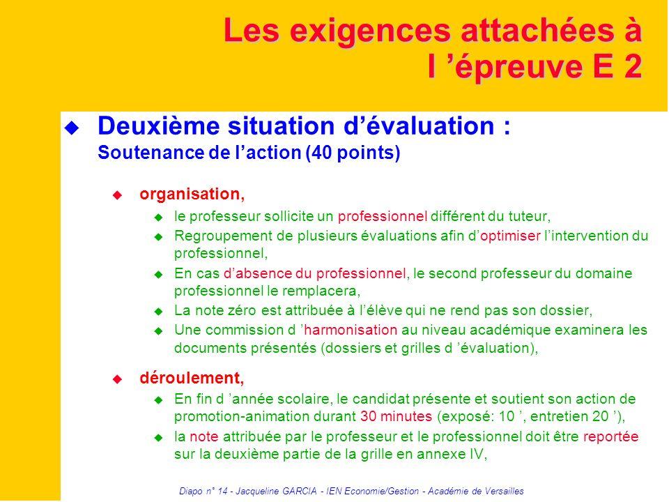 Diapo n° 14 - Jacqueline GARCIA - IEN Economie/Gestion - Académie de Versailles Les exigences attachées à l épreuve E 2 Deuxième situation dévaluation