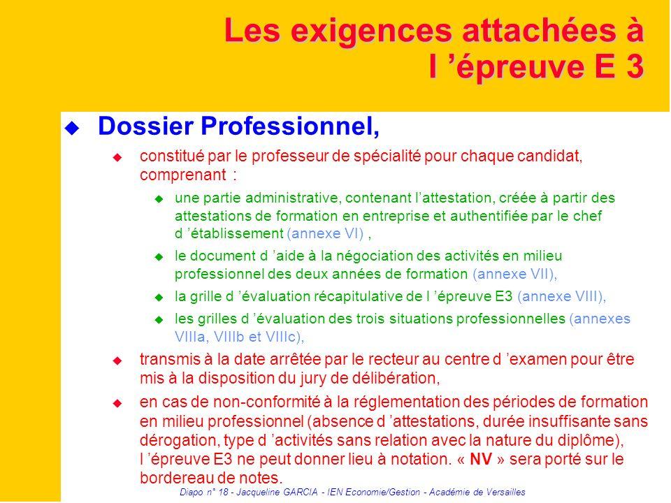 Diapo n° 18 - Jacqueline GARCIA - IEN Economie/Gestion - Académie de Versailles Les exigences attachées à l épreuve E 3 Dossier Professionnel, constit