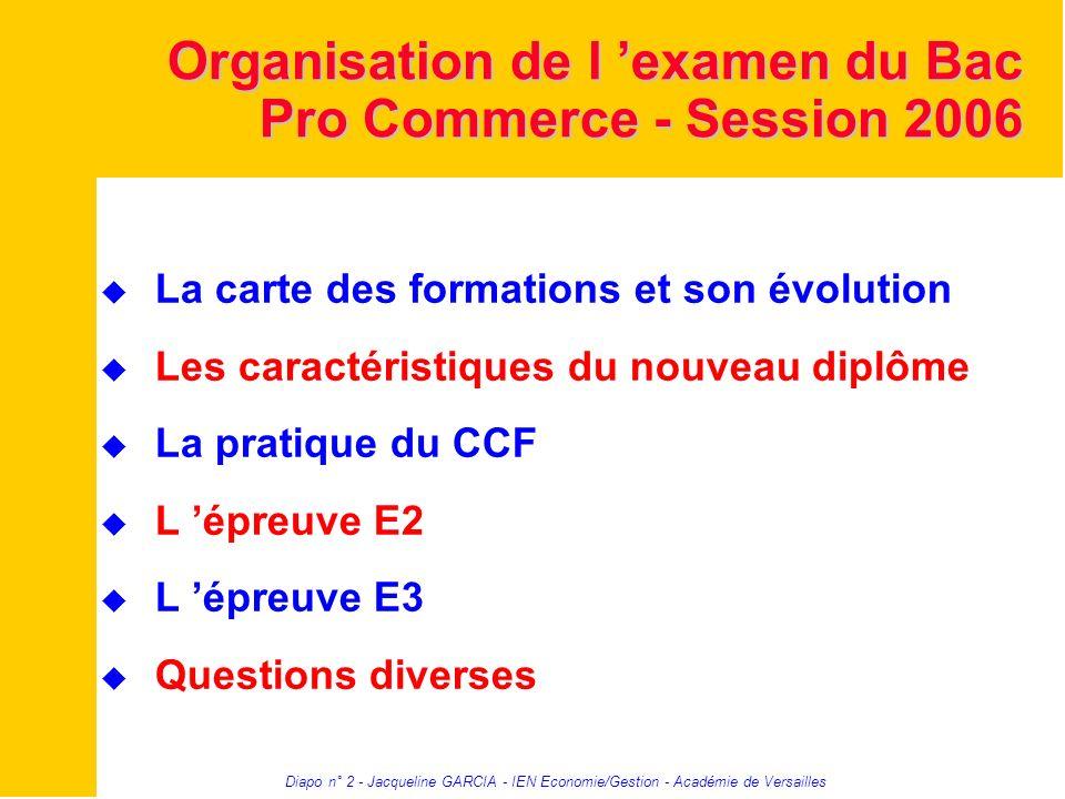Diapo n° 2 - Jacqueline GARCIA - IEN Economie/Gestion - Académie de Versailles Organisation de l examen du Bac Pro Commerce - Session 2006 La carte de