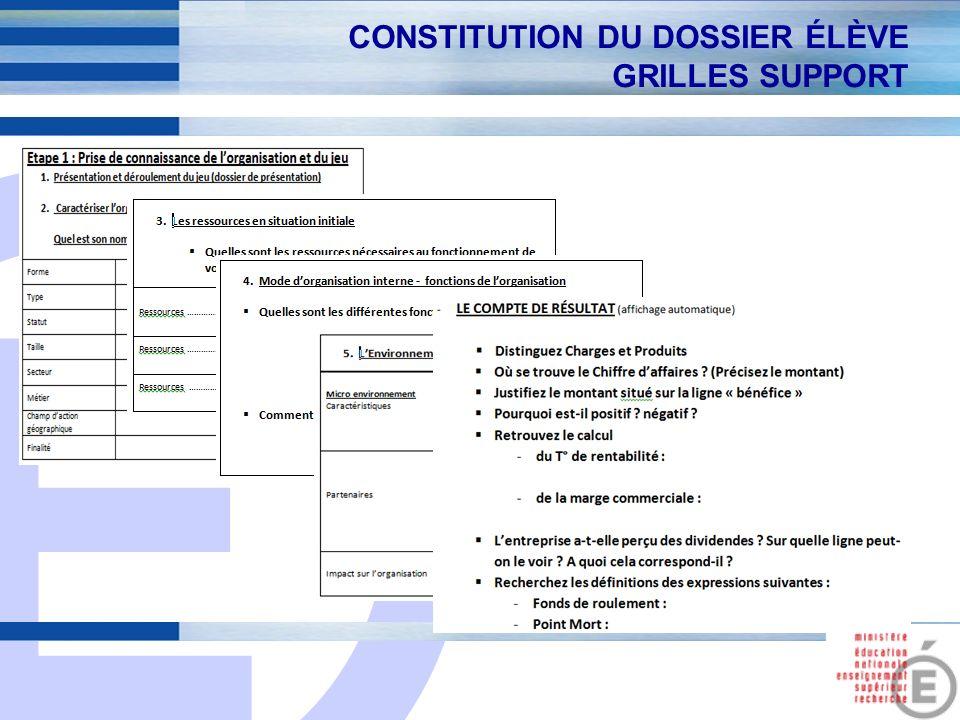 E 13 CONSTITUTION DU DOSSIER ÉLÈVE GRILLES SUPPORT