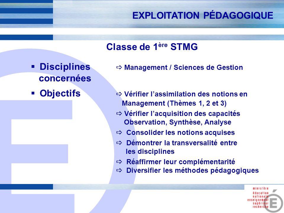 E 3 Classe de 1 ère STMG Disciplines Management / Sciences de Gestion concernées Objectifs Vérifier lassimilation des notions en Management (Thèmes 1,