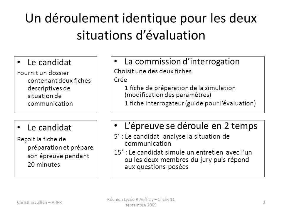 Un déroulement identique pour les deux situations dévaluation Le candidat Fournit un dossier contenant deux fiches descriptives de situation de commun