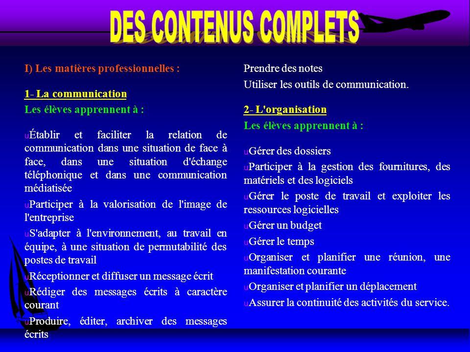 I) Les matières professionnelles : 1- La communication Les élèves apprennent à : u Établir et faciliter la relation de communication dans une situatio