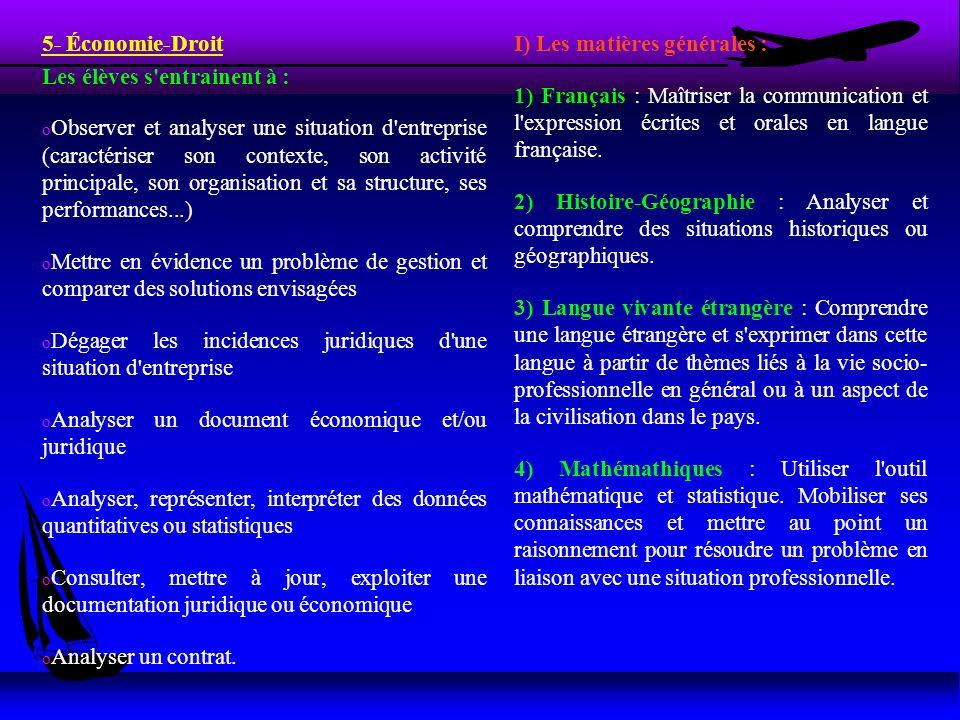 5- Économie-Droit Les élèves s'entrainent à : o Observer et analyser une situation d'entreprise (caractériser son contexte, son activité principale, s