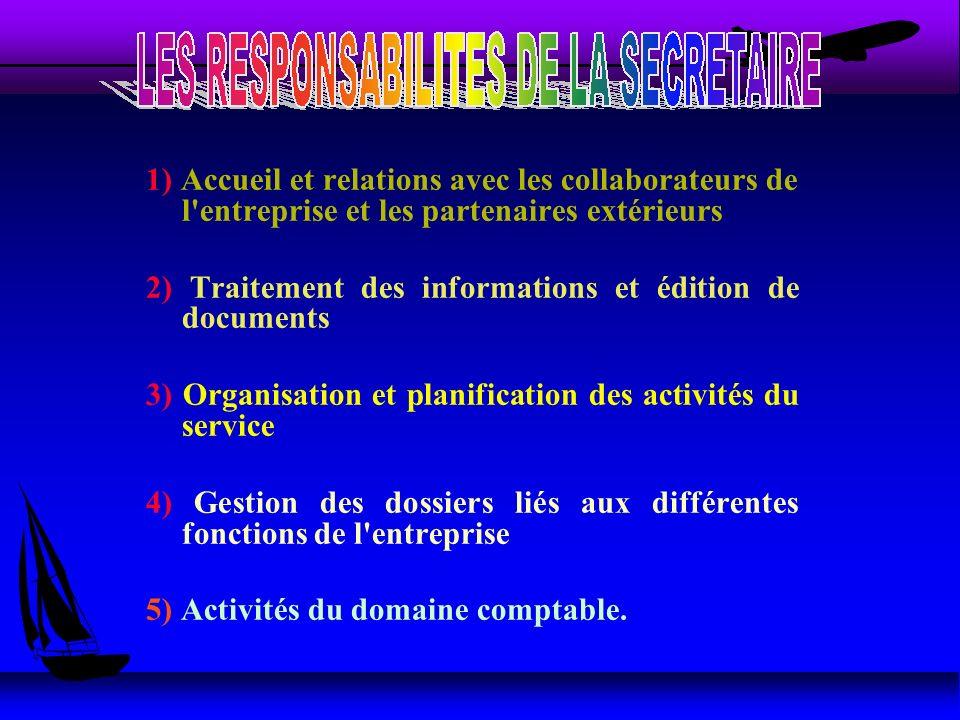 1) Accueil et relations avec les collaborateurs de l'entreprise et les partenaires extérieurs 2) Traitement des informations et édition de documents 3