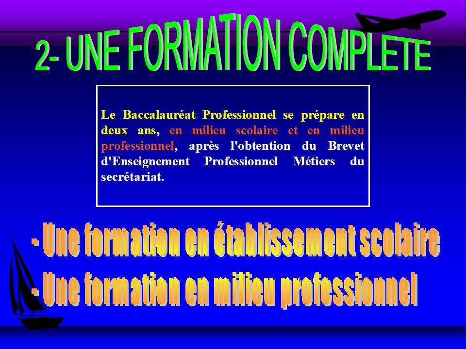 Le Baccalauréat Professionnel se prépare en deux ans, en milieu scolaire et en milieu professionnel, après l'obtention du Brevet d'Enseignement Profes