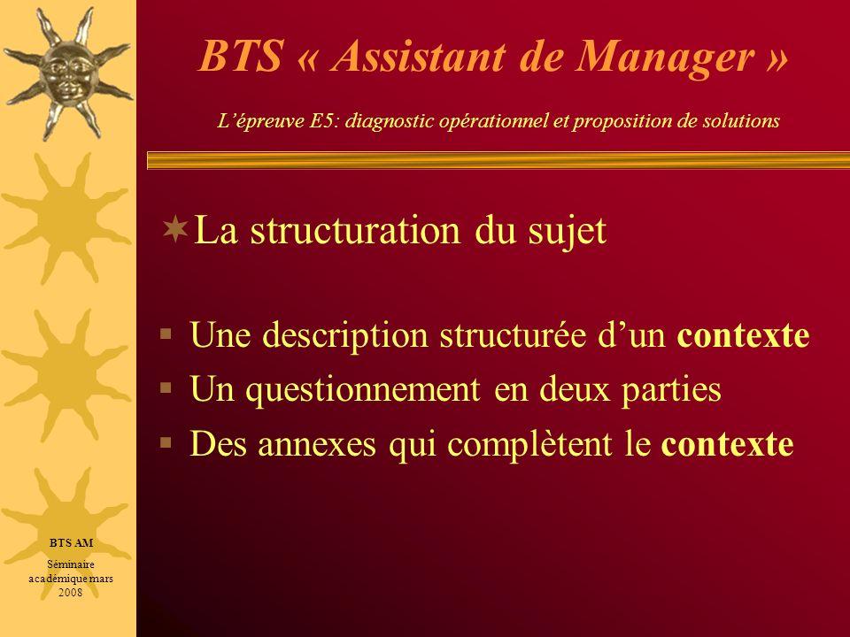 BTS « Assistant de Manager » Lépreuve E5: diagnostic opérationnel et proposition de solutions La structuration du sujet Une description structurée dun
