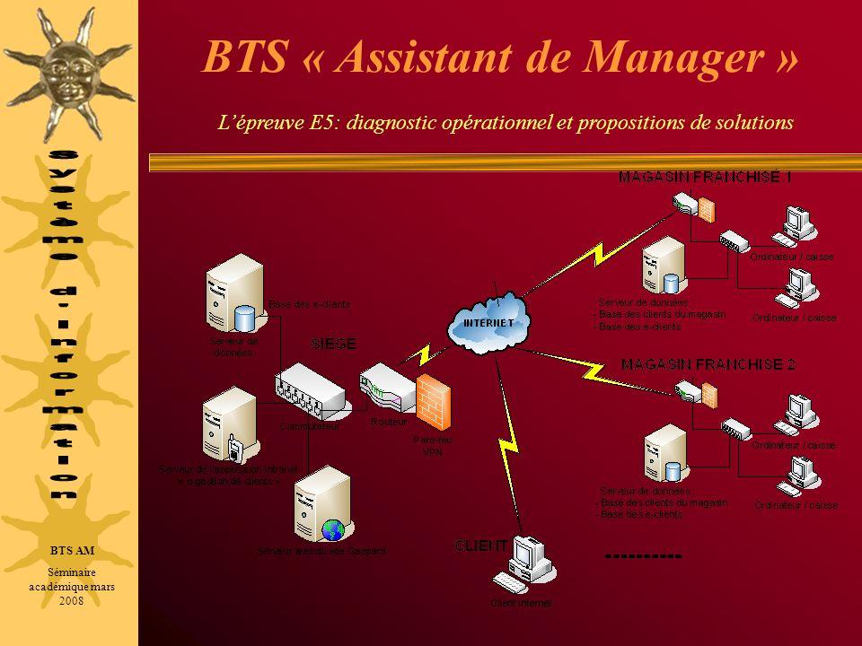 BTS « Assistant de Manager » Lépreuve E5: diagnostic opérationnel et propositions de solutions BTS AM Séminaire académique mars 2008