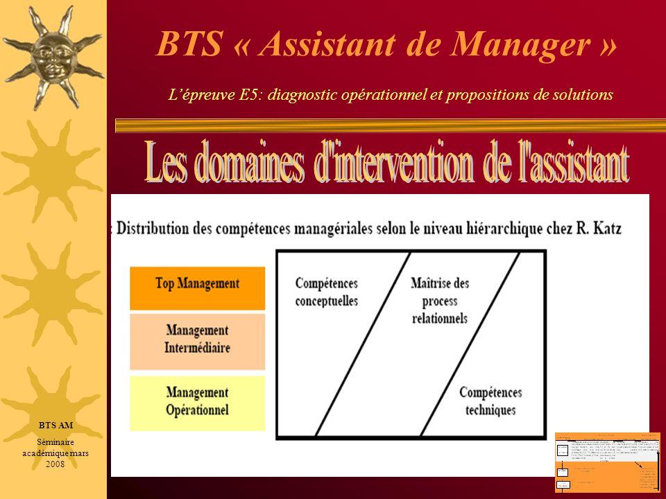 BTS AM Séminaire académique mars 2008 BTS « Assistant de Manager » Lépreuve E5: diagnostic opérationnel et propositions de solutions