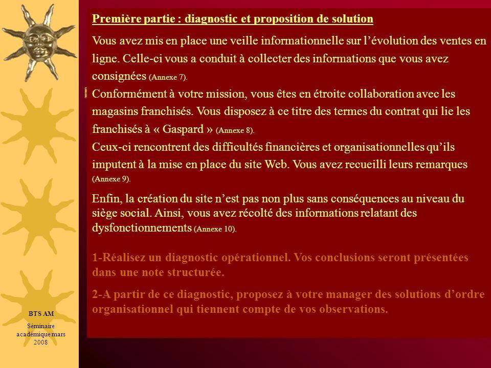 BTS AM Séminaire académique mars 2008 Première partie : diagnostic et proposition de solution Vous avez mis en place une veille informationnelle sur l