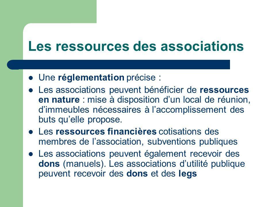 Les ressources des associations Une réglementation précise : Les associations peuvent bénéficier de ressources en nature : mise à disposition dun local de réunion, dimmeubles nécessaires à laccomplissement des buts quelle propose.
