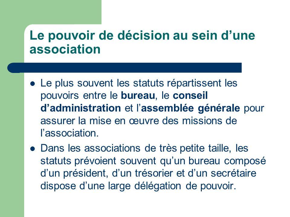 Le pouvoir de décision au sein dune association Le plus souvent les statuts répartissent les pouvoirs entre le bureau, le conseil dadministration et lassemblée générale pour assurer la mise en œuvre des missions de lassociation.