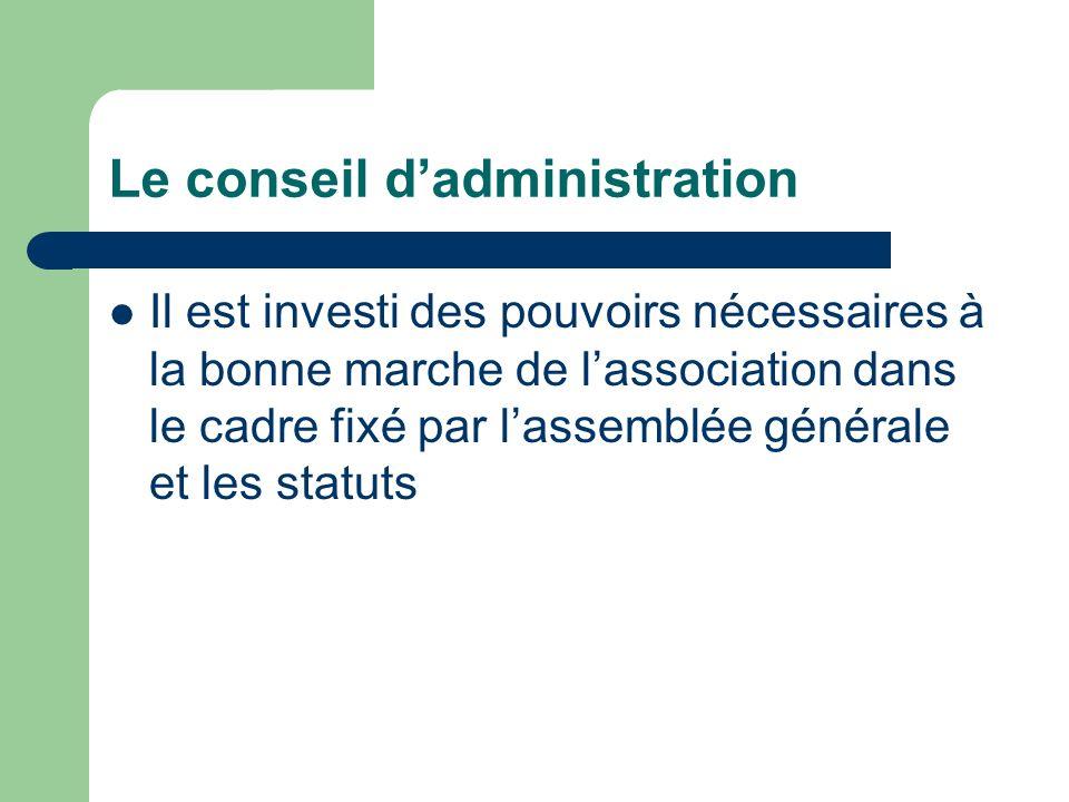 Le conseil dadministration Il est investi des pouvoirs nécessaires à la bonne marche de lassociation dans le cadre fixé par lassemblée générale et les statuts