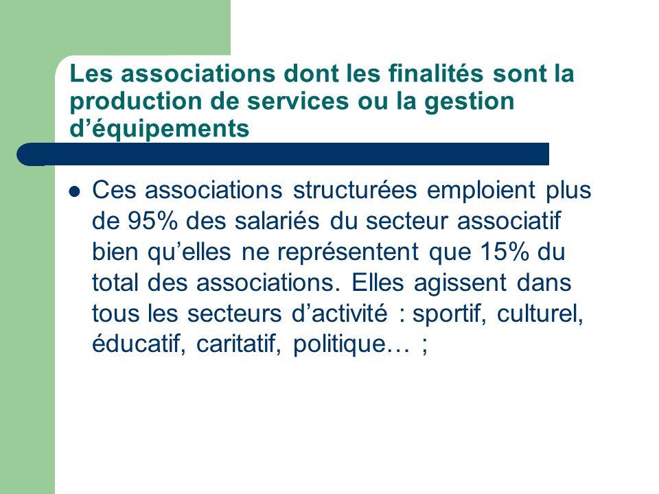 Les associations dont les finalités sont la production de services ou la gestion déquipements Ces associations structurées emploient plus de 95% des salariés du secteur associatif bien quelles ne représentent que 15% du total des associations.