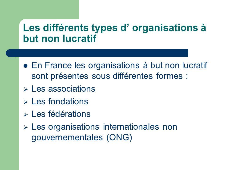 Les différents types d organisations à but non lucratif En France les organisations à but non lucratif sont présentes sous différentes formes : Les associations Les fondations Les fédérations Les organisations internationales non gouvernementales (ONG)
