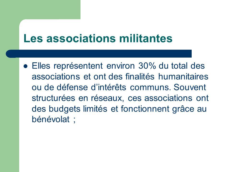 Les associations militantes Elles représentent environ 30% du total des associations et ont des finalités humanitaires ou de défense dintérêts communs.