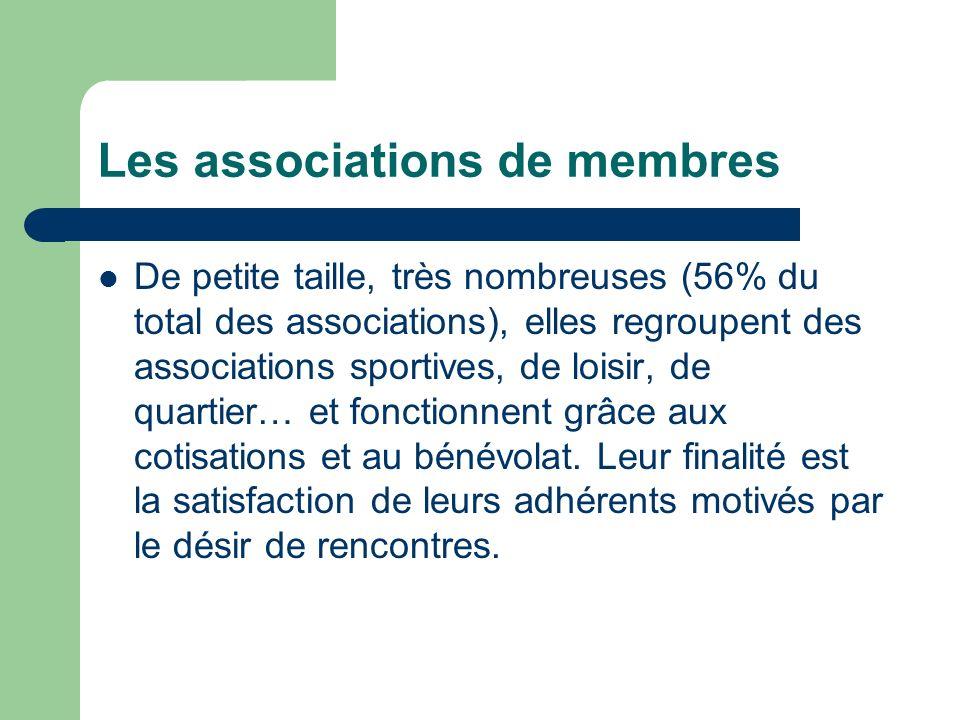 Les associations de membres De petite taille, très nombreuses (56% du total des associations), elles regroupent des associations sportives, de loisir, de quartier… et fonctionnent grâce aux cotisations et au bénévolat.