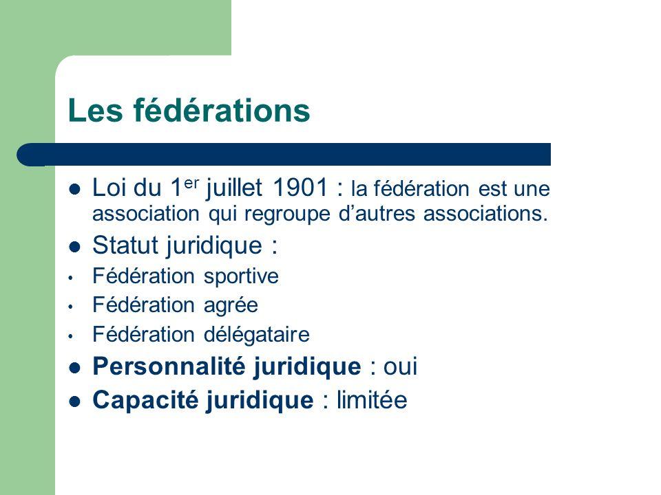 Les fédérations Loi du 1 er juillet 1901 : la fédération est une association qui regroupe dautres associations.