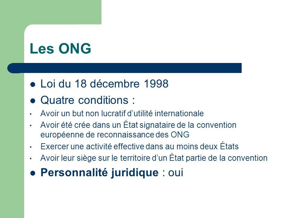 Les ONG Loi du 18 décembre 1998 Quatre conditions : Avoir un but non lucratif dutilité internationale Avoir été crée dans un État signataire de la convention européenne de reconnaissance des ONG Exercer une activité effective dans au moins deux États Avoir leur siège sur le territoire dun État partie de la convention Personnalité juridique : oui