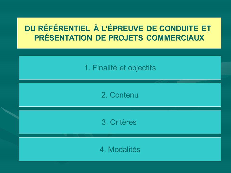 DU RÉFÉRENTIEL À LÉPREUVE DE CONDUITE ET PRÉSENTATION DE PROJETS COMMERCIAUX 1. Finalité et objectifs 2. Contenu 3. Critères 4. Modalités
