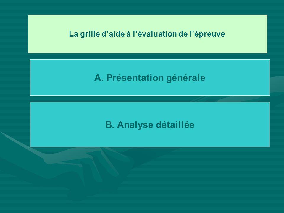 La grille daide à lévaluation de lépreuve A. Présentation générale B. Analyse détaillée