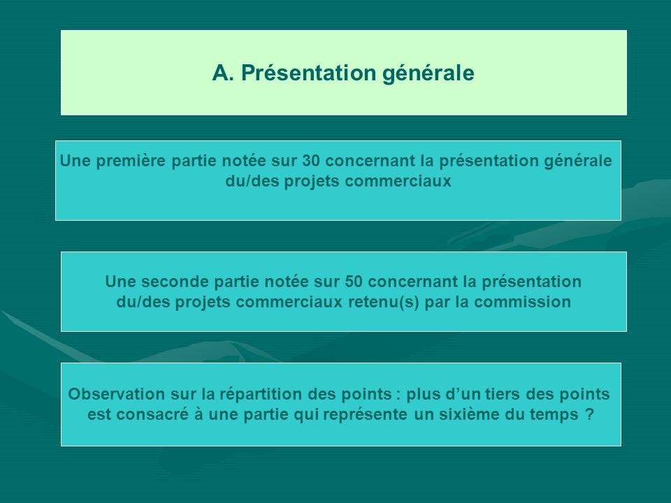 A. Présentation générale Une première partie notée sur 30 concernant la présentation générale du/des projets commerciaux Une seconde partie notée sur