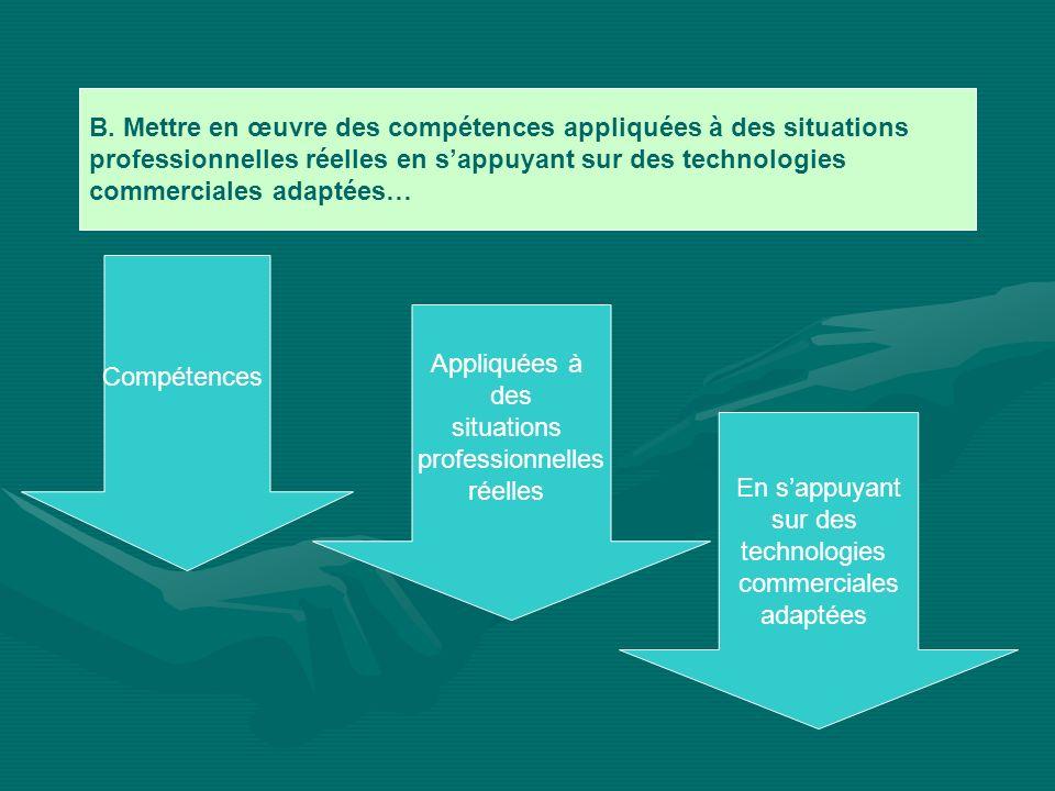B. Mettre en œuvre des compétences appliquées à des situations professionnelles réelles en sappuyant sur des technologies commerciales adaptées… Compé