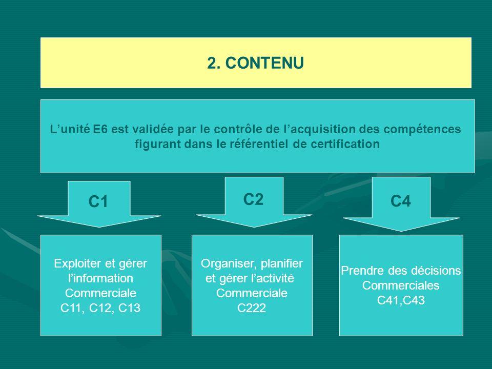 2. CONTENU Lunité E6 est validée par le contrôle de lacquisition des compétences figurant dans le référentiel de certification C1 C2 C4 Exploiter et g