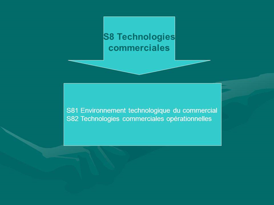 S8 Technologies commerciales S81 Environnement technologique du commercial S82 Technologies commerciales opérationnelles
