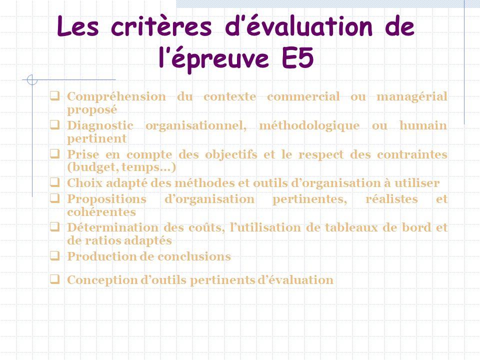 Les critères dévaluation de lépreuve E5 Compréhension du contexte commercial ou managérial proposé Diagnostic organisationnel, méthodologique ou humai