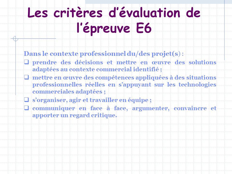 Les critères dévaluation de lépreuve E6 Dans le contexte professionnel du/des projet(s) : prendre des décisions et mettre en œuvre des solutions adapt